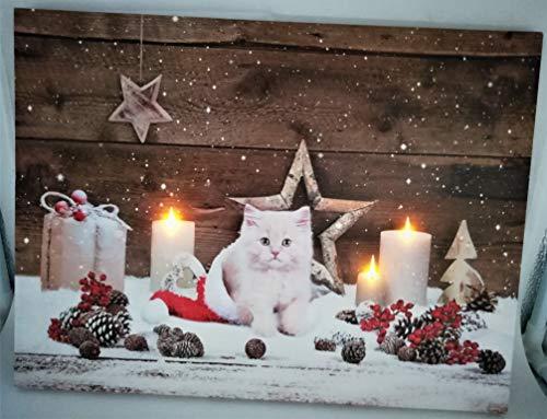 Geschenkestadl Led Wandbild Katze Weihnachten Kerze 30cm x 40cm