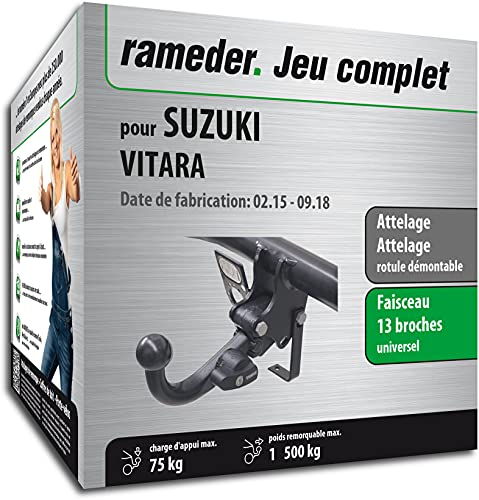 Rameder Pack, attelage rotule démontable + Faisceau 13 Broches Compatible avec Suzuki Vitara (162664-13638-1-FR)