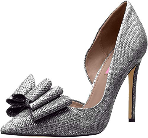 Betsey Johnson Women's Prince D'Orsay Pump, Pewter, 10 M US