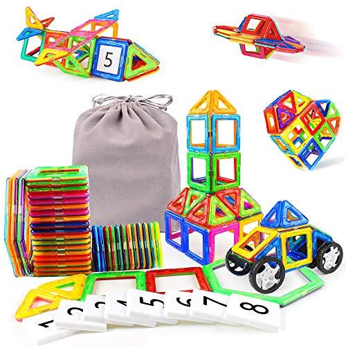 Juegos Educativos para Niños 48 Piezas Juguetes de Construcción Juguetes 3D Niños con Ruedas y Figura, Juguete Creativo con Bolsa de Almacenamiento, Regalo de Cumpleaños para Niños de 3 4 5 6