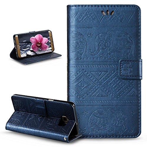 Compatible avec Coque Galaxy S6 Edge Plus Etui,Embosser Gaufrage Éléphant tribal Housse Cuir PU Housse Etui Coque Portefeuille supporter Flip Case Etui Housse Coque pour Galaxy S6 Edge Plus,Bleu marin
