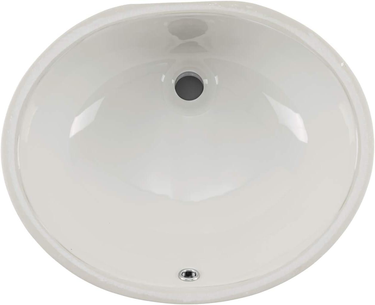 NEW ARRIVAL Soleil SS209BIS 17-in x 14-in Oval 付与 Bat Glazed Ceramic Undermount