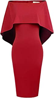 GRACE KARIN Ceremonia Vestido LáPiz Mujer Fuera del Hombro Batwing Mangas Decorado Bodycon