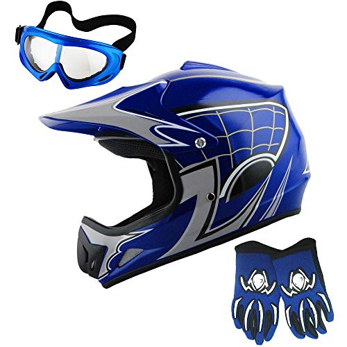 WOW Youth Motocross Helmet BMX MX ATV Dirt Bike Helmet Spider Web Blue + Goggles + Martian Blue Glove Kids Bundle