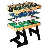 Deluxe 4 en 1 Mesa de Juego Superior Multifunción Combo de Mesa Estable (Ping Pong), Glide Hockey, Soccer Foosball, Pool Set para niños y niños [Clase energética A]
