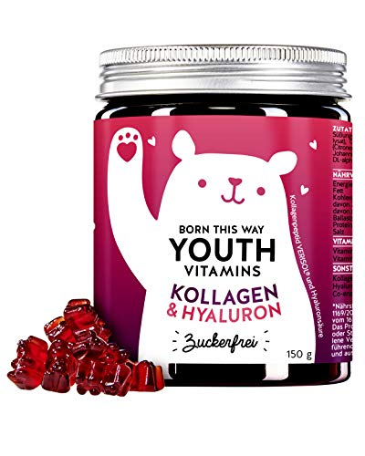 Bears with Benefits Collagen & Hyaluronic Gummy Bears - Verisol Collagen - Cruelty Free & No Additives - Laboratory Tested & Made in Germany (Pack of 90)