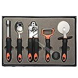 ALMAAZ 5-In-1 Kitchen Gadget Set - Can Opener, Pizza Cutter, Ice Cream Scoop, Apple Corer, Fruit & Vegetable Peeler - Deluxe, Top-Grade Stainless Steel - Premium Cooking Accessories in Elegant Box