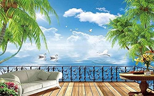 XHXI Balcón Paisaje Coconut Palm Fondo de pantalla 3D 3D papel Pintado de pared tapiz Decoración dormitorio Fotomural-400cm×280cm