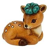 THUN ® - Cerbiatto Mini con Quadrifoglio Portafortuna - Ceramica - h 3,6 cm - Linea I Classici