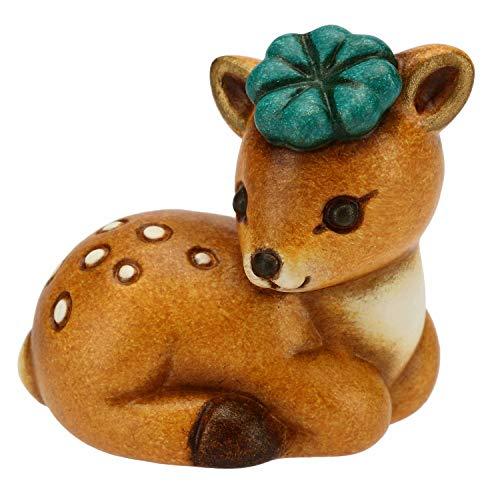 THUN - Cerbiatto Con Quadrifoglio Portafortuna - Accessori Per La Casa - Linea I Classici - Formato Mini - Ceramica - 3,6 X 3,5 X 2,9 H Cm