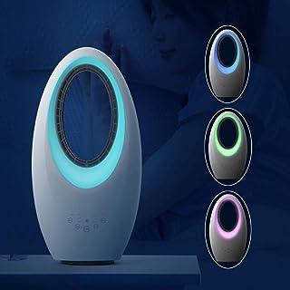 ECGZS Calefactor EléCtrico Silencioso, Radiador Bajo Consumo con Mando a Distancia - 2000W/Mando a Distancia/Temporizador 7.5 H/60° OscilacióN/DiseñO de Luz Nocturna de 4 Colores - Interior,White