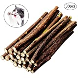 nuoshen 30 Stücke Katzenminze Sticks, Katzenspielzeug und Zahnpflege 100% Biologisch Katzenminze Stäbchen zur Katzen Zahnpflege und gegen Mundgeruch der Katze