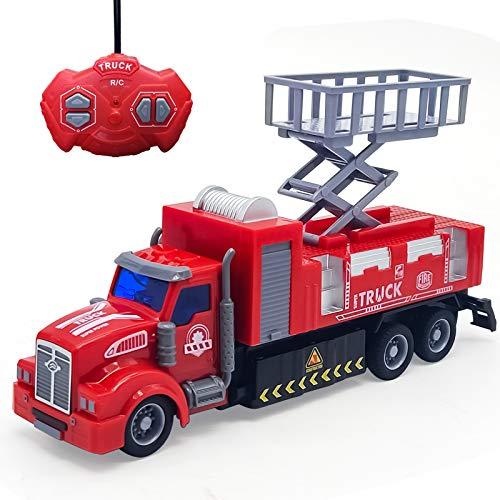 Camión de Bomberos de Juguete para niños, camión de Bomberos a Control Remoto con Luces, Escalera giratoria, vehículos de construcción, Juguetes, Regalo para niños y niñas (Levantamiento)