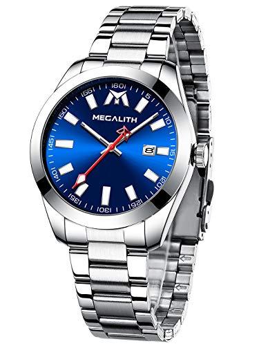 MEGALITH Herrenuhr Männer Blau wasserdichte Analog Leuchtend Datum Einfache Silber Edelstahl Armbanduhr Business Moderne Quarzwerk Uhren
