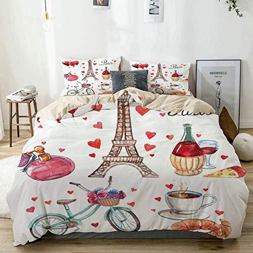 Juego de Funda nórdica Beige, París Ilustración de Corazones Torre Eiffel Vino Tinto Café Perfume Romance temático, Decorativo Juego de Ropa de Cama de 3 Piezas con 2 Fundas de Almohada Fácil Cuidado