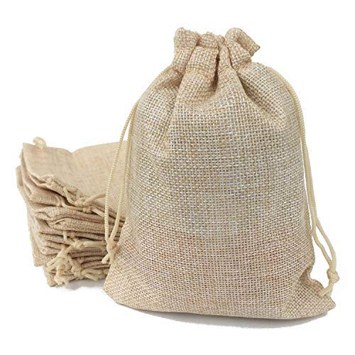 50PCS Burlap Favor Gift Bags with Drawstring and Cotton Lining ( 6.7 X 9 Inch , #03 Cream)