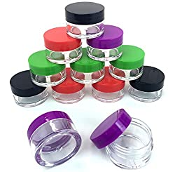 Beauticom Clear Jars with Colored Lids/20 ML (Pack of 12 Pieces