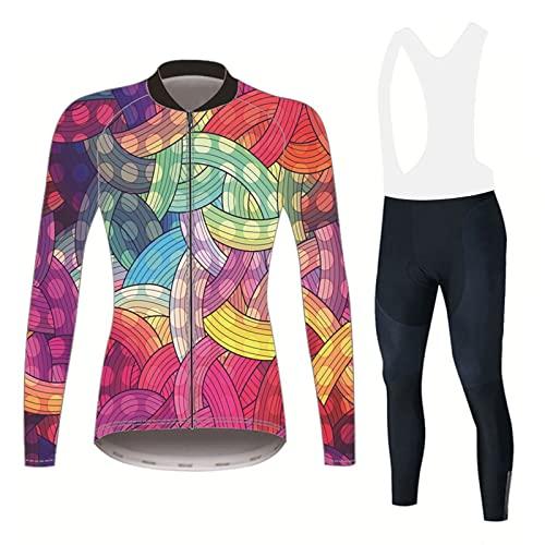Completo Maglia E Pantalone Ciclismo Donna Abbigliamento Traspirante Tuta da Bici A Maniche Lunghe Pantaloni Imbottiti in Gel 3D Asciugatura Veloce (Color : A, Size : XL)