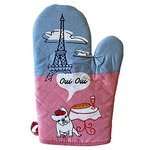 Crazy Dog T-Shirts Oui Oui French Bulldog Oven Mitt Funny Pet Puppy Animal Lover Kitchen Glove (Oven Mitts)