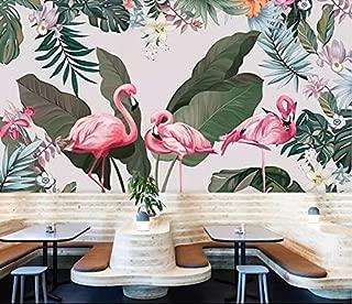 Wxlsl Papel pintado Dibujados A Mano, Selva Tropical, Hojas De Flamenco, Flores De Fondo, Murales De Pared, Personalizados, Gran Fondo De Pantalla Verde, 3D-150Cmx105Cm