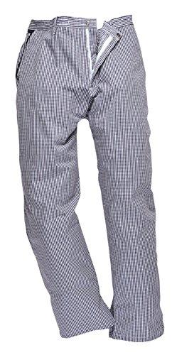 Portwest Pantalones de chef, panadero, trabajo, ropa de cocina Azul y blanco...
