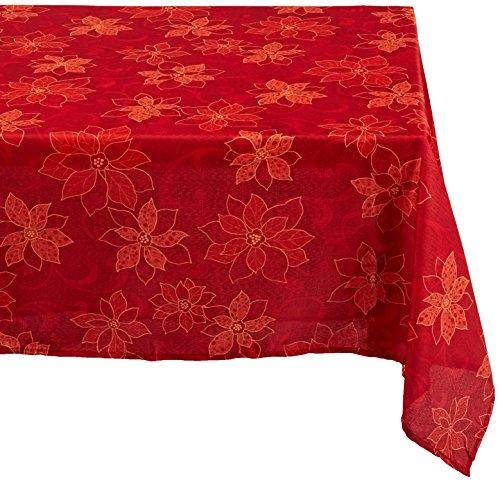 Benson Mills Mantel de Tela con Estampado de Flor de Pascua, 132.08 cm por 177.80 cm, Rojo, 60x120, 1