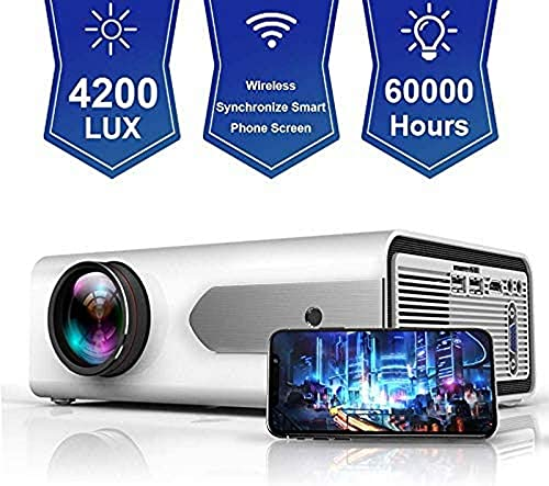 [Proyector WiFi actualizado 2020: Proyector LED WiFi 4200Lux, Mini proyector Compatible con Full HD 1080P, [720P Nativo: Compatible con teléfonos Inteligentes, PS4, TV Box, HDMI, USB, AV par
