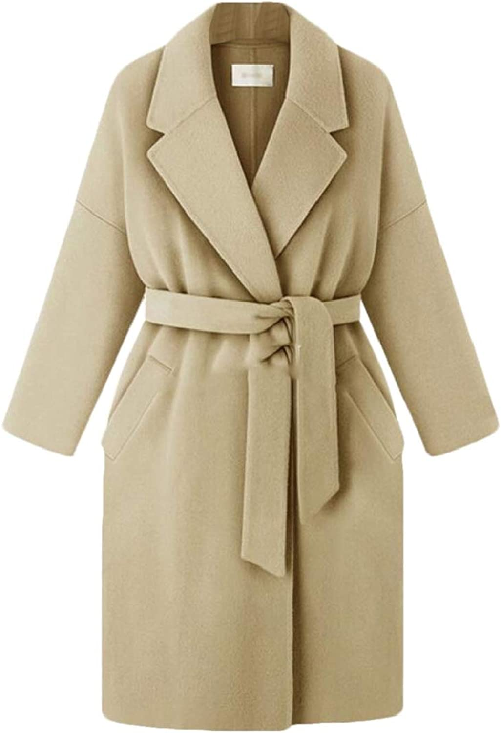 Rrive Women Belted Open Front Winter Overcoat Wool Blend Long Trench Coat