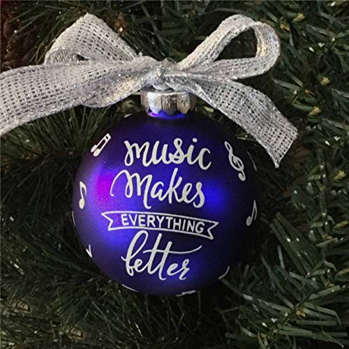 DONL9BAUER Music Makes Everything Better Acrylic Christmas Ball Ornament, Christmas Bauble Tree Ornament with presents for Church Members,Holiday,Family & Friends.