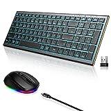 Dracool Bluetooth Tastatur Maus Set Kabellos, Beleuchtet Tastatur und Maus Ultradünne Tastatur mit 3 Bluetooth Kanälen und Maus (2,4G+BT) für iPad/PC/Tablet/Laptop, Deutsch QWERTZ-Layout - Space Grau