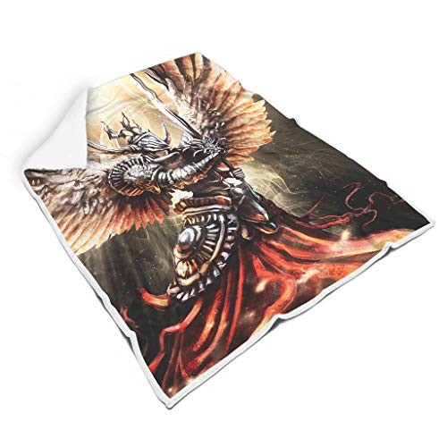 Knowikonwn Decke, Engels-Krieger Design, bedrucktes Sherpa-Bademantel, Übergröße, super Komfort für Erwachsene/Frauen/Herren, Fleece, weiß, 50x60 inch