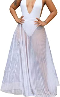 JKoYu Women Skirts Summer Beach Solid Color Perspective Mesh Elastic Waistband Maxi Skirt