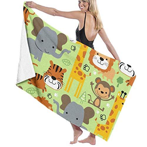 cleaer Toallas de Playa de Gran tamaño, Estampados de Elefantes de león Envoltura de Toallas de baño Toallas de baño y Ducha de SPA para Mujer Albornoz de natación para Damas niñas - Blanco