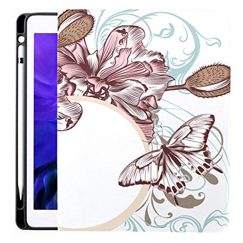 Case For Ipad Pro 12.9 Inch (2020/2018 Release) with Pencil Holder, Full-body Trifold Stand Protective Case Smart Cover With Auto Sleep/wake, Beautiful Poppy Flowers Ornament