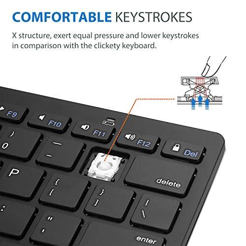 ProCase Universal Kabellose Tablet US-Englisch Tastatur (QUERTY- US Layout) für Laptop Handy, Ultra dünn und leicht Tragbar Wireless Keyboard für iOS, Android, Windows Geräten -Schwarz