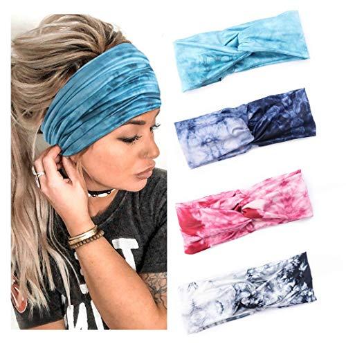 Yean Boho-Yoga-Stirnbänder, elastisch, Batik-Haarbänder, breit, atmungsaktiv, für Sport, Fitnessstudio, Kopfbedeckung für Damen und Herren (4 Stück) (A)