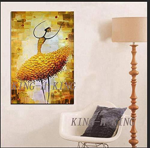 Graffiti Pintura al óleo Pintada a Mano Falda Blanca Bailarina Figura Pintura al óleo sobre Lienzo Abstracto Moderno Cuchillo de Ballet Retrato Pintura Mural para decoración-60x90 cm_KING2