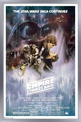 Trends International Star Wars: The Empire Strikes Back - The Saga Continues One Sheet Wall Poster, 22.375' x 34', Silver Framed Version