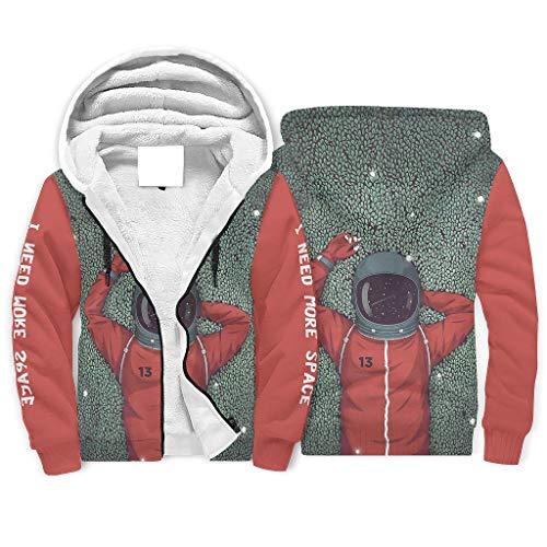 XJJ88 Hoodies NASA Astronaute pour homme Protection contre le froid Classique Soft Fleece Hood XXL blanc