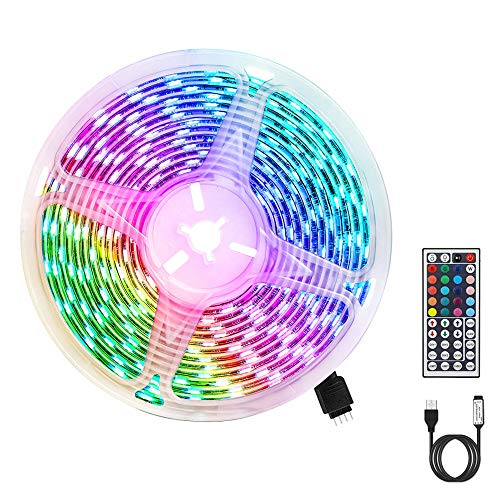 LED Strip RGB 3m, USB LED Streifen 180 LEDs 5050 LED Streifen mit 20 Farben/ 6 Modi/ Wasserdicht IP65/ Fernbedienung mit 44 Tasten für TV, Dach, Garten, Haus, Bar, Party, Weihnachten, Hochzeit