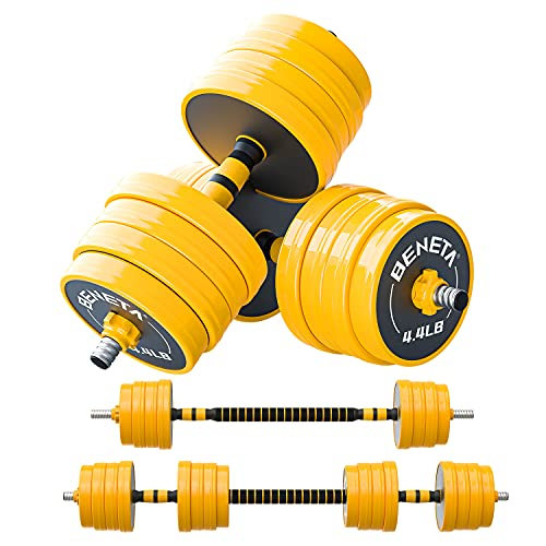 BENETA Adjustable Barbell, Adjustable Dumbbells Weight Set, Multifunction Free Weights Dumbbell Barbell Set, with Non-Slip Rubber Protective Cover, for Men, Women, Home, Gym