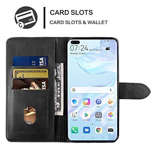 EASYCOB Hülle für Huawei P40 Pro Hülle, Premium Handyhülle Tasche Leder Flip Case Brieftasche Magnetischen Etui Schutzhülle für Huawei P40 Pro, Schwarz - 7