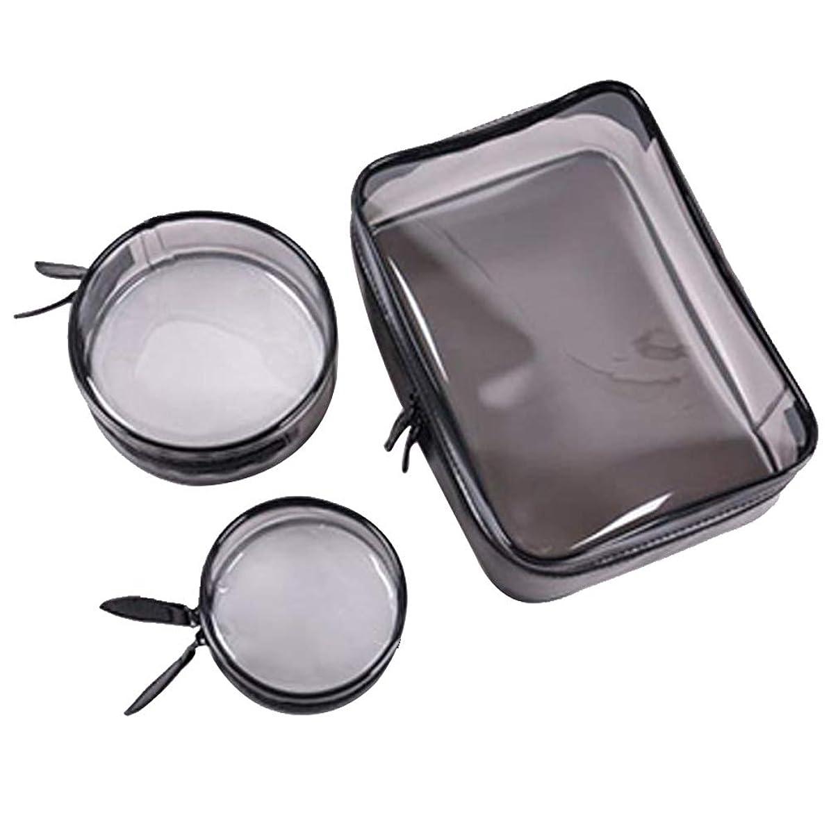 ごちそう失業安心させる化粧ポーチ メイクポーチ 透明化粧品バッグ PVC 防水ウォッシュバッグ 3個セット 旅行出張用 トイレタリー整理バッグ 旅行収納バッグ