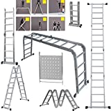 Ladder 4.7M EN131 Telescoping Aluminum Telescopic Extension Tall Multi Purpose Loft Folding Ladder with Safety Locking Hinges and 1 Safety Tool Tray Manufactured 14 in 1
