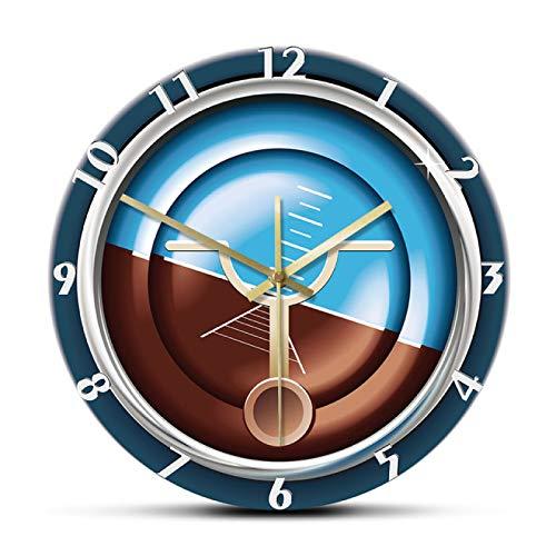 hufeng Reloj de Pared Instrumento de avión Reloj de Pared Militar Avión Medición y Control Reloj de Pared Decorativo Reloj silencioso sin tictac