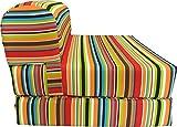 D&D Futon Furniture Multi Colors Stripes Sleeper Chair Folding Foam Bed Sized 6 x 32 x 70, Studio Guest Foldable Chair Beds, Foam Sofa, Couch, High Density Foam 1.8 Pounds.