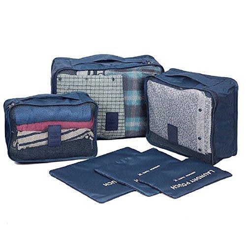 NOVAGO Organizzatori per valigie , 6 pezzi (Blu scuro / Singolo)