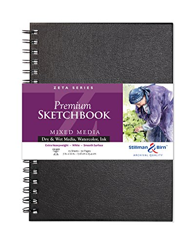 Stillman & Birn Zeta Series Wirebound Sketchbook, 7' x 10', 270 gsm (Extra Heavyweight), White Paper, Smooth Surface