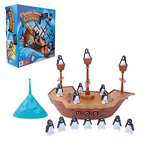 Juego de barco de equilibrio fácil, juguete de juego de cerebro para niños, juguete de equilibrio de pingüino, juguete pirata, interactivo para regalo de fiesta