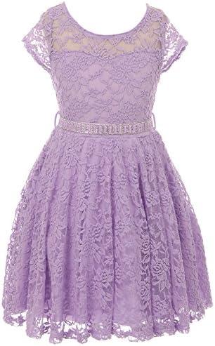 Little Girl Cap Sleeve Lace Skater Stone Belt Flower Girls Dresses 19JK88S Lilac 6 product image